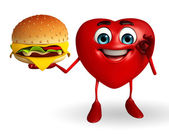 Heart Shape character with burger — ストック写真