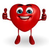 Heart Shape character with thumbs up pose — Stok fotoğraf