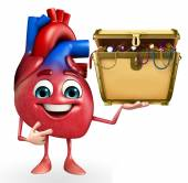 Heart character with treasure box — Stock Photo