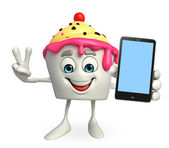 Ice Cream character with mobile — Stock Photo