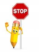 Pencil Character with stop sign — Stock Photo