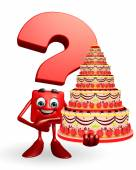 Question Mark character with cake — 图库照片