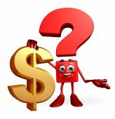 Question Mark character with dollar sign — 图库照片