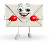 Pošta charakter s boxerské rukavice — Stock fotografie
