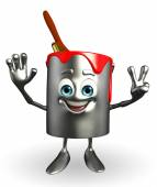 Paint Bucket Character is Victory pose — Stock Photo