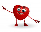 Heart Shape character is pointing  — Stock Photo