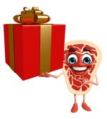 Meat steak character with gift box   — Stock Photo