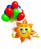 Sun Character With Balloon — Stock Photo