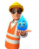 Young worker with water drop — Stock Photo