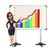 Kobieta młody biznes z firmy Graf — Zdjęcie stockowe