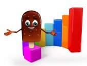 Candy Character With business graph  — Stockfoto