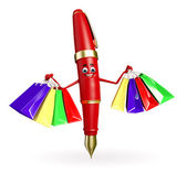 Pen Character with shopping bag — Stock Photo
