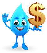 Water Drop Character with dollar sign — Foto de Stock