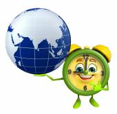 Table clock character with globe — Fotografia Stock