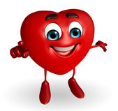 Heart Shape character is pointing  — Stok fotoğraf