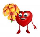 Heart Shape character with  flower — Stok fotoğraf