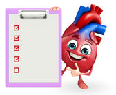 Heart character with notepad — Stock Photo