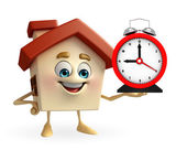 House character with table clock — Stock Photo
