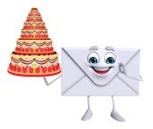 Mail Character with cake — Foto de Stock
