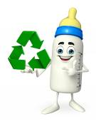 Baby Bottle character with recycle icon — Stock Photo