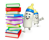 Baby Bottle character with Books pile — Fotografia Stock