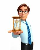 Young Service Man with sand clock — Stock Photo