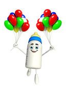 Baby Bottle character with Balloons — Stock Photo