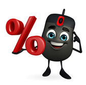 Computer Mouse Character with percent sign — Stock Photo