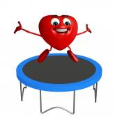 Heart Shape character with jumpbed — Zdjęcie stockowe