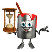 Paint Bucket Character with sand clock  — Stock Photo