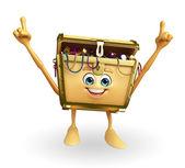 Treasure box character is pointing — Stock Photo
