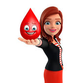 Young Corporate lady with blood drope — Stockfoto