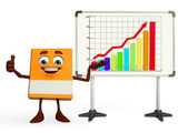 Book Character with business graph — Fotografia Stock