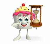 Ice Cream character with sand clock — Stock Photo