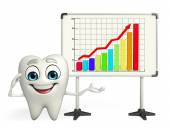 Teeth character with business graph — Stock Photo