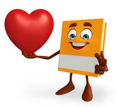 Book Character with heart — Stock Photo