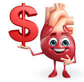 Heart character with dollar sign — Stock Photo