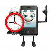 Mobile character with table clock — Stock Photo