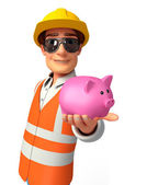 Young worker with piggy bank — Stock fotografie