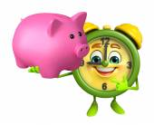 Table clock character with piggy bank — Stock Photo