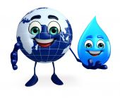 Earth Character with water drop — Stock Photo