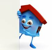 House character with  sign — Stock Photo