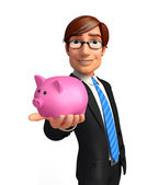 Young Business Man with piggy bank — Stock Photo