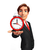 Young Business Man with table clock — Stock Photo
