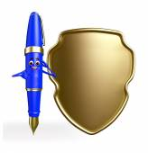Pen Character with shield — Stock Photo