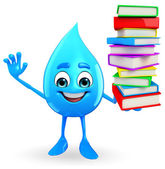 Water Drop Character with Books pile — Fotografia Stock