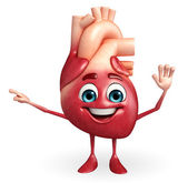 Heart character with pointing — Stockfoto