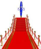 Pen Character with red carpet — Stock Photo