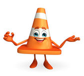 Construction Cone Character with happy pose — Stock Photo