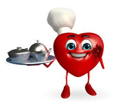 Heart Shape character with dish pan — Stock Photo